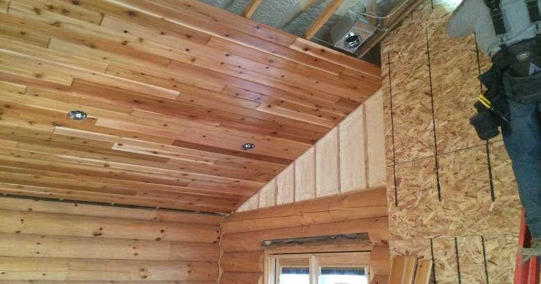 Log home spray foam